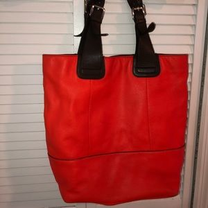 Red over the shoulder purse